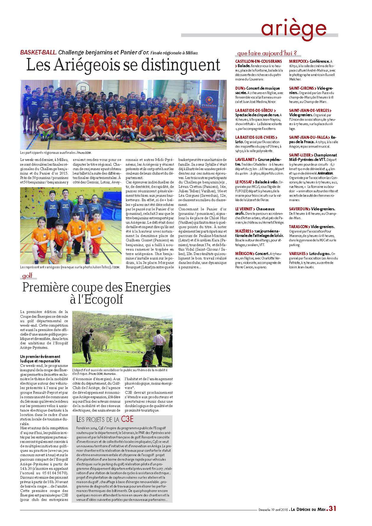 Article Dépêche du Midi Finale Régionale Ch Benjamin & Panier d'Or
